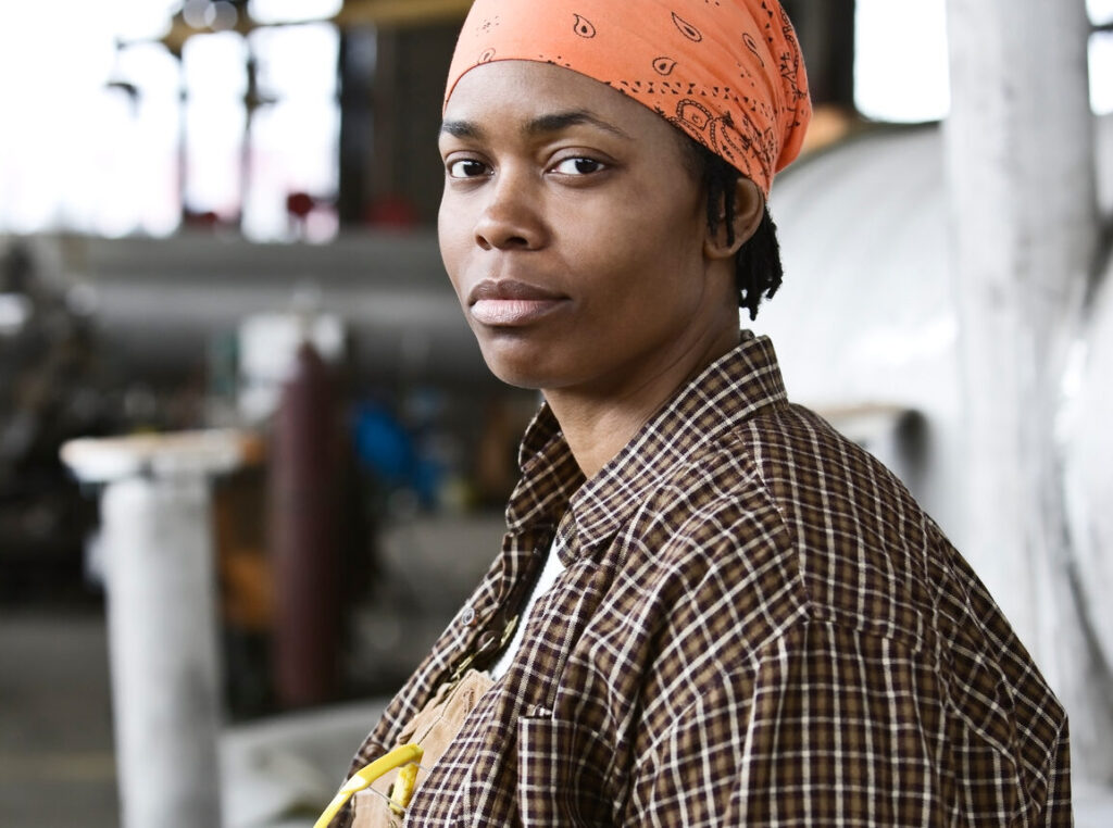 african american female factory worker who is trying to quit tobacco
